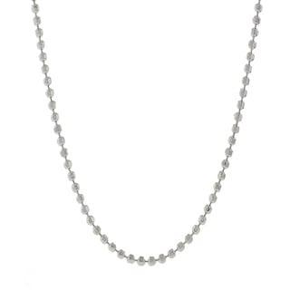 Pori Italian Sterling Silver Bead Diamond-cut Chain Necklace