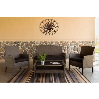 Somette 4 Piece Outdoor Woven Deep Seating Set