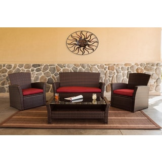 Somette 4 Piece Outdoor Woven Deep Seating Conversation Set