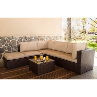 Somette 4 Piece Outdoor Woven Sectional Set, Tobacco