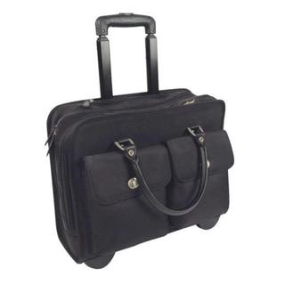 Black Nylon 15.4-inch Double Gusset Rolling Laptop Case