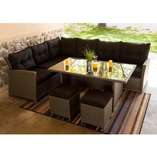 Somette 5 Piece Outdoor Woven Sectional Dining Set
