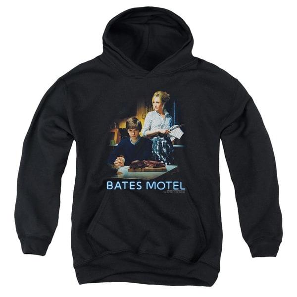 Bates Motel/Die Alone Youth Pull-Over Hoodie in Black