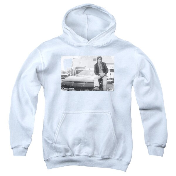 Knight Rider/Black Knight Youth Pull-Over Hoodie in White