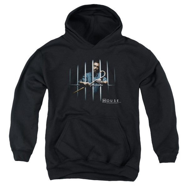 House/Behind Bars Youth Pull-Over Hoodie in Black