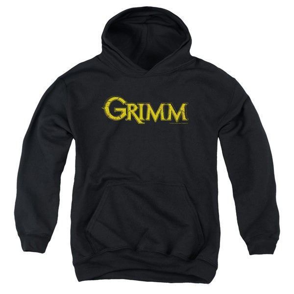 Grimm/Gold Logo Youth Pull-Over Hoodie in Black