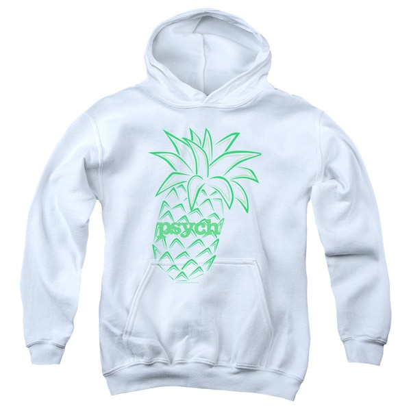 Psych/Pineapple Youth Pull-Over Hoodie in White