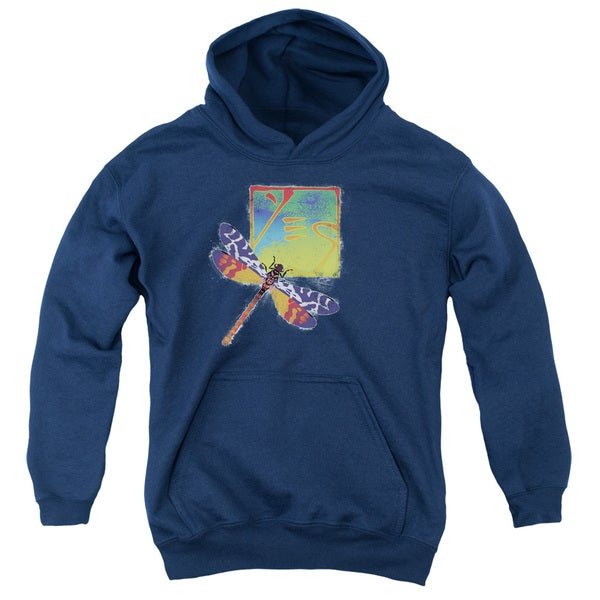Yes/Dragonfly Youth Pull-Over Hoodie in Navy