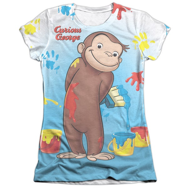 Curious George/Paint All Over Short Sleeve Junior Poly/Cotton Crew in White