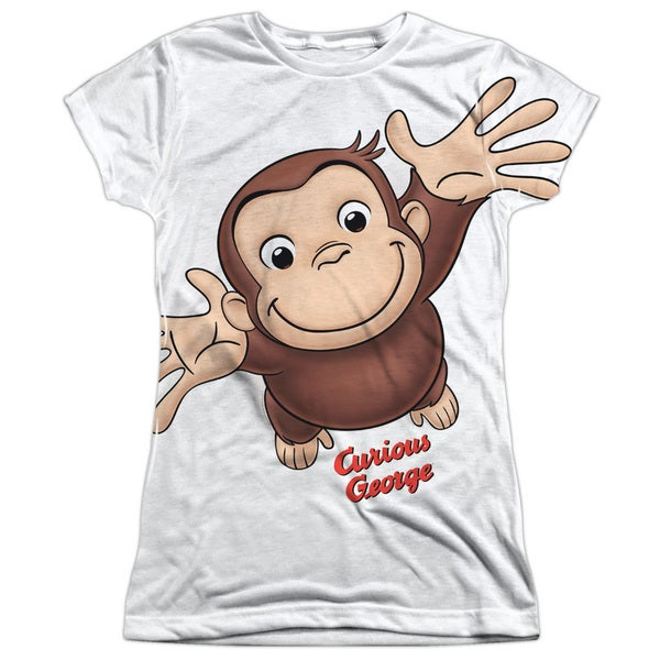 Curious George/Hands in The Air Short Sleeve Junior Poly Crew in White