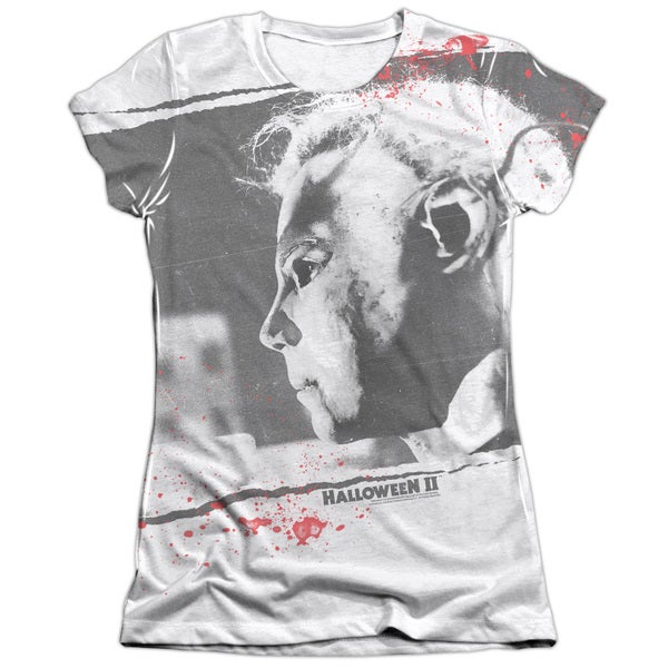 Halloween Ii/Myers Mask (Front/Back Print) Short Sleeve Junior Poly/Cotton Crew in White