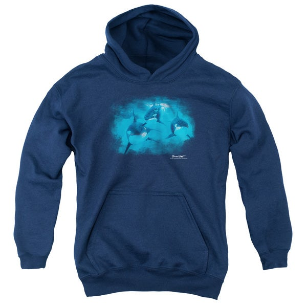 Wildlife/Pod Of Orcas Youth Pull-Over Hoodie in Navy
