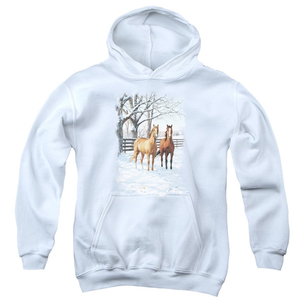 Wildlife/Coffee and Chocolate Youth Pull-Over Hoodie in White