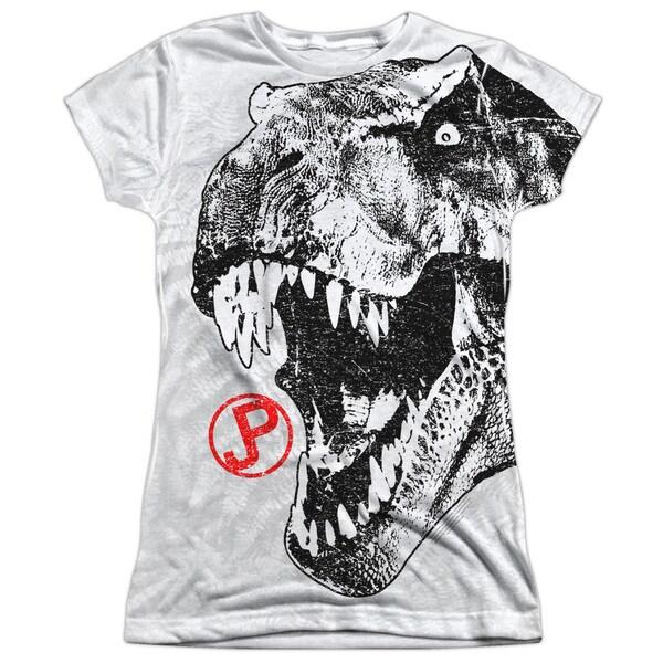 Jurassic Park/T Rex Head Short Sleeve Junior Poly Crew in White