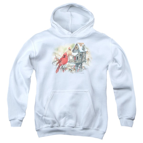 Wildlife/Cardinals Rustic Retreat Youth Pull-Over Hoodie in White