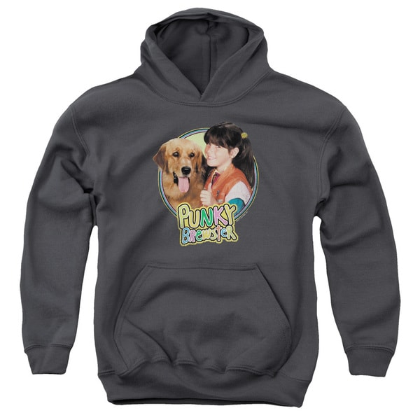 Punky Brewster/Punky & Brandon Youth Pull-Over Hoodie in Charcoal