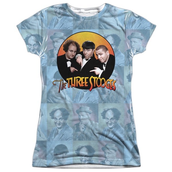 Three Stooges/Portraits Short Sleeve Junior Poly Crew in White