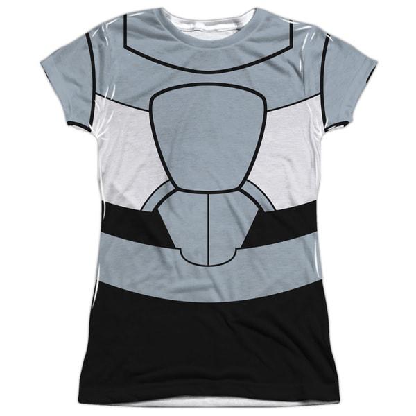 Teen Titans Go/Cyborg Uniform (Front/Back Print) Short Sleeve Junior Poly Crew in White