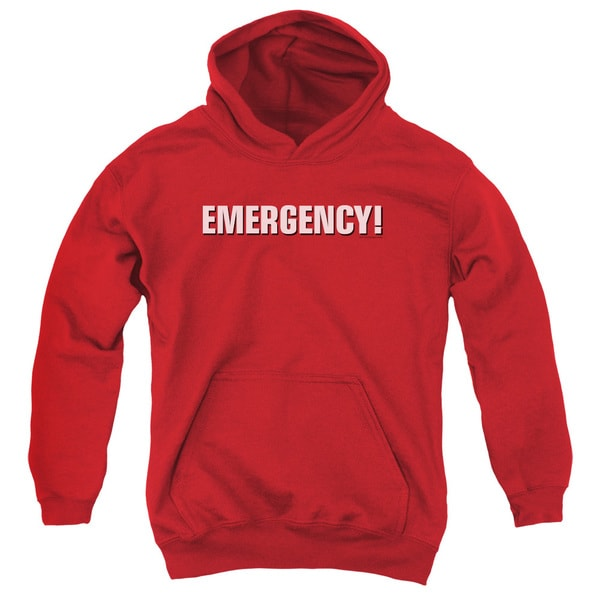 Emergency/Logo Youth Pull-Over Hoodie in Red