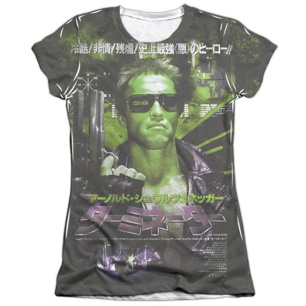 Terminator/Japan Poster Sub (Front/Back Print) Short Sleeve Junior Poly/Cotton Crew in White