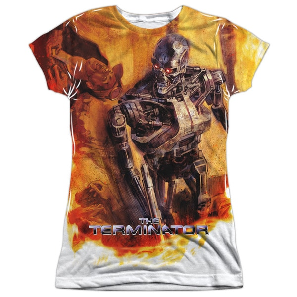 Terminator/Killing Fields Short Sleeve Junior Poly Crew in White