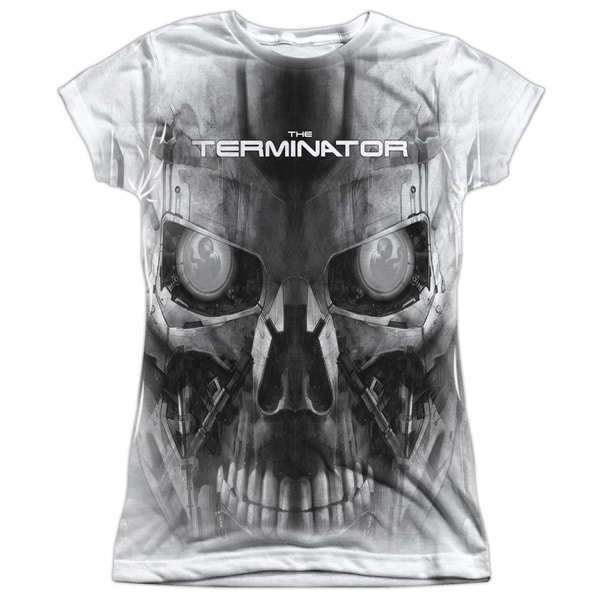 Terminator/Endoskeleton Face Short Sleeve Junior Poly Crew in White
