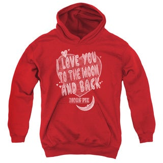 Moon Pie/I Love You Youth Pull-Over Hoodie in Red
