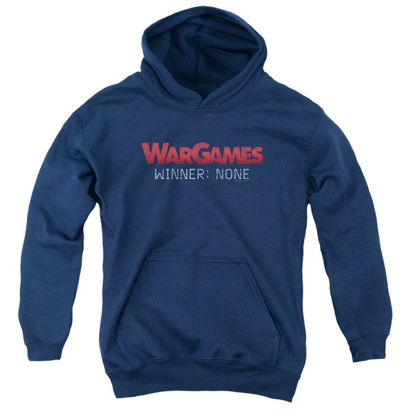 Wargames/No Winners Youth Pull-Over Hoodie in Navy