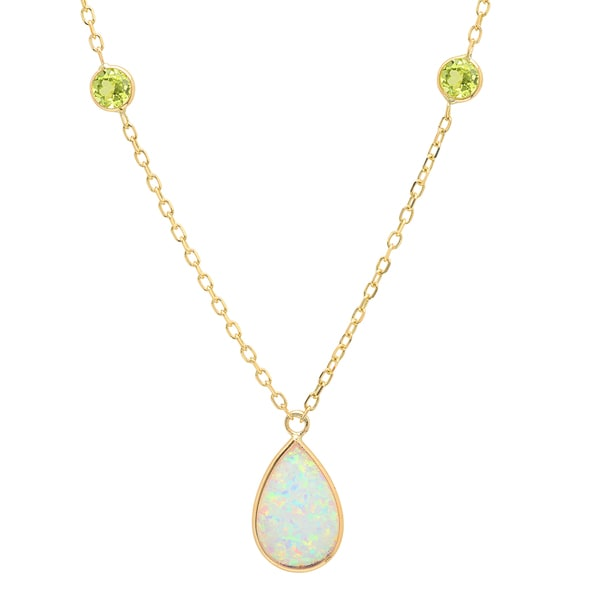 Sterling Essentials 14k Gold Pear Created Opal and Peridot Adjustable Necklace (16 inch plus 2 inch extension) 18697342
