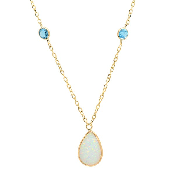 14k Gold Pear Created Opal and Blue Topaz Adjustable Necklace (16 inch plus 2 in 18697343