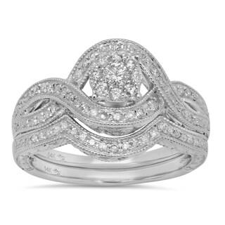 Sterling Essentials 14k White Gold 1/2ct TDW Diamond Engagement Ring Set (I, I1-2)