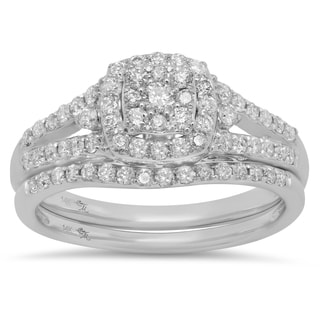 Sterling Essentials 14k White Gold 3/4ct TDW Diamond Engagement Ring Set (I, I1-2)