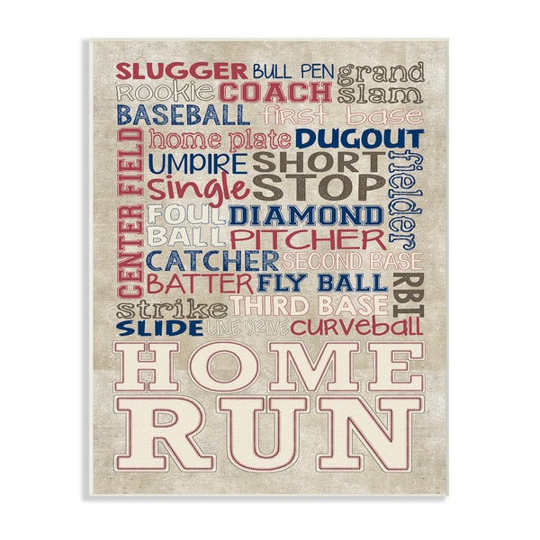 Erica Billups 'Red White and Blue Baseball' Typog Stretched Canvas Wall Art