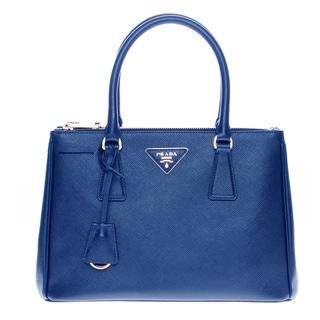 Prada Blue Saffiano Leather Lux Small Double-zip Tote Handbag