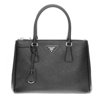 Prada Black Saffiano Leather Lux Small Double-zip Tote Handbag