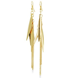 Adoriana Gold Leaf and Chain Dangle Earrings, 3 3/4 Inches