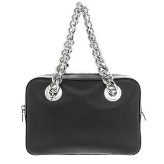 Prada Black Grained Leather Top-handle Chain Large Handbag