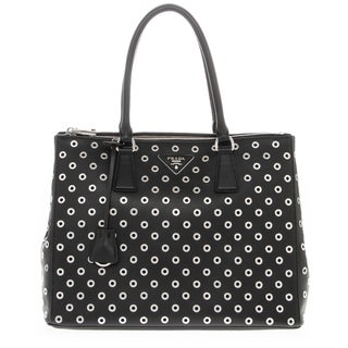 Prada Galleria Black Leather Grommet Detail Bag