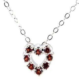 Sterling Silver Round Birthstone Heart Pendant with Chain