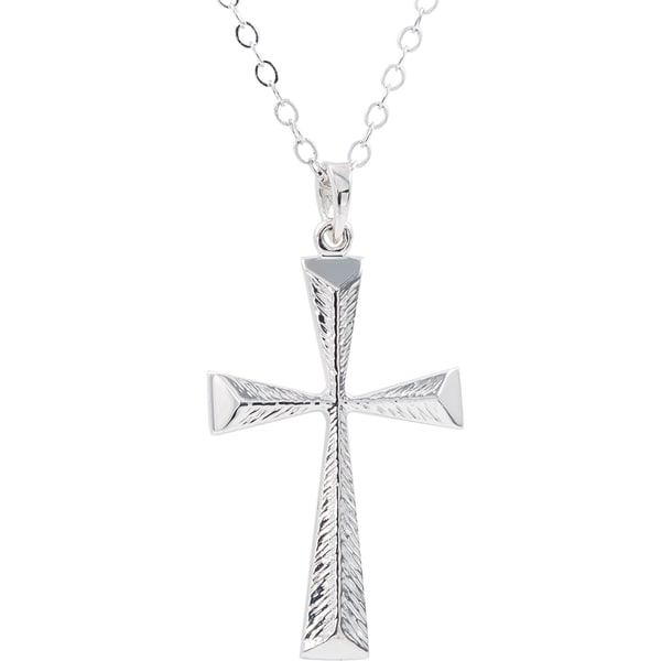 Sterling Silver Texture Cross Pendant with Chain