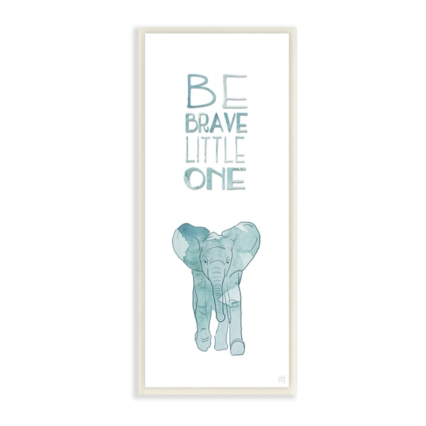 Be Brave Little One' Elephant Stretched Canvas Wall Art