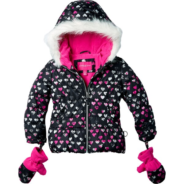 London Fog Girls' Heart Print Hooded Jacket