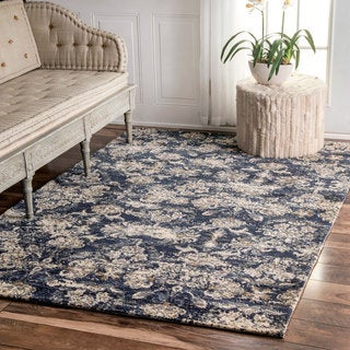 nuLOOM Transitional Abstract Floral Blue Rug (5' x 8')