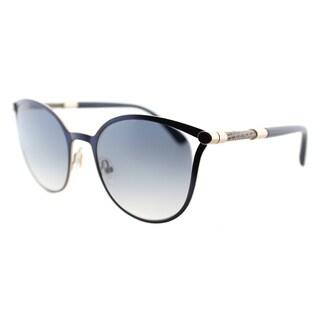 Jimmy Choo JC Neiza J6S Matte Blue Metal Cat-Eye Grey Gradient Lens Sunglasses