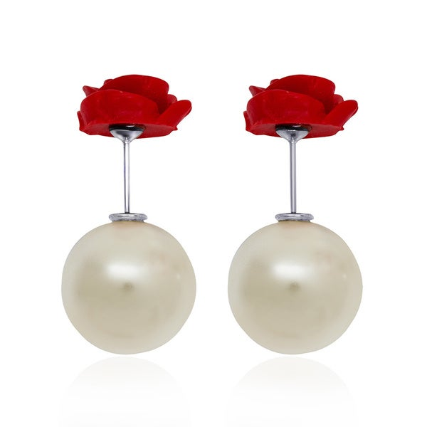 Pearlyta Sterling Silver Red Rose and Shell Pearl Front and Back Earrings (14-16mm)