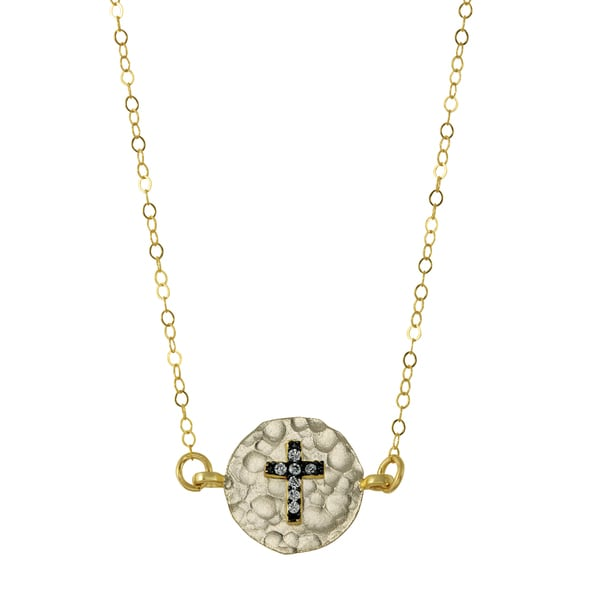 Brass Cross Charm Necklace