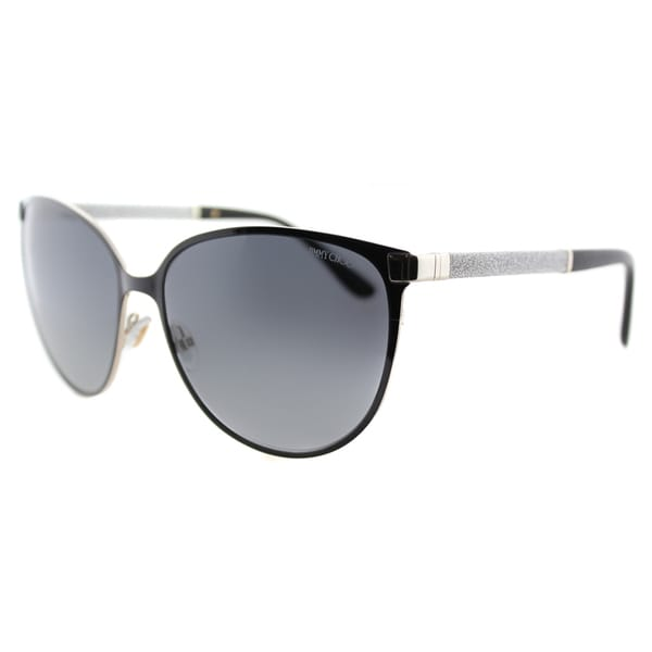 Jimmy Choo JC Posie F8E Shiny Black Metal Cat-Eye Grey Gradient Lens Sunglasses