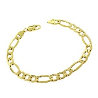 10k Yellow Gold Men's 8 mm Hollow Figaro Link Fancy Chain Bracelet