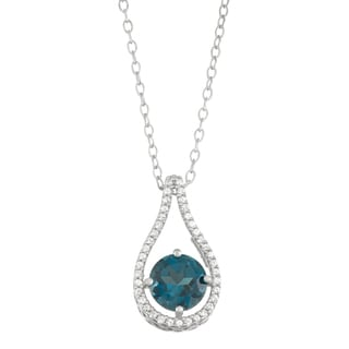 Gioelli Sterling Silver Genuine London Blue Topaz and Lab Created White Sapphire Accent Pendant