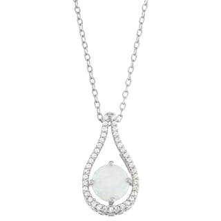 Gioelli Sterling Silver Lab Simulated Opal and Lab Created White Sapphire Accent Pendant
